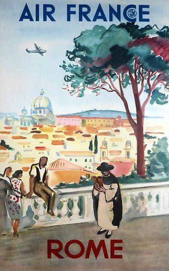 Rome Italy Retro Vintage Travel Poster Hq Quality Vintage Travel Posters Travel Posters Air France