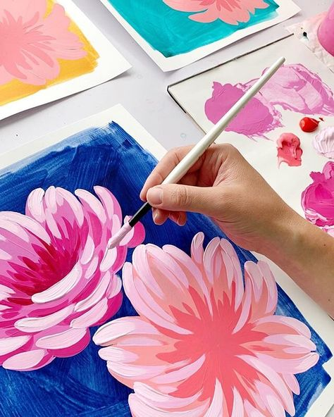 Acrylic Painting Flowers, Acrylic Painting Canvas, Canvas Art, Acrylic Painting Inspiration, Basic Art Techniques, Textiles, Colorful Paintings, Gouache Painting, Learn To Paint