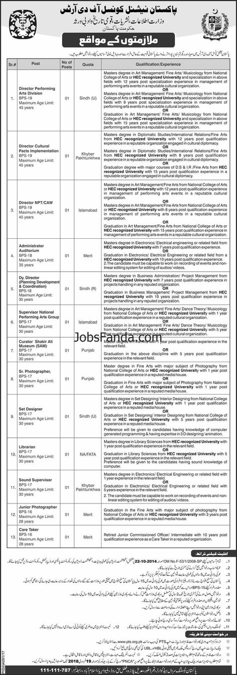 National College Of Arts Jobs  Application Form Download
