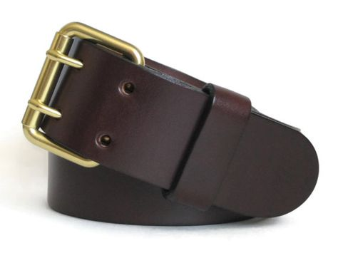 Men's Brown Leather Belt 2 Prong Bright Brass Buckle Mens