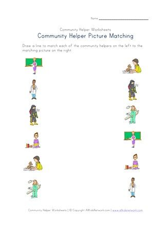 Community Helpers Picture Matching Worksheet Community Helpers Worksheets Community Helpers Matching Community Helpers Kindergarten