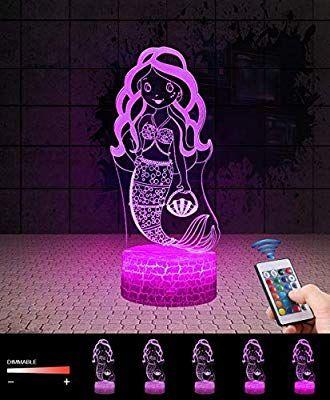 3d Meerjungfrau Lampe Led Nachtlicht Mit Fernbedienung Qilitd 7 Farben Wahlbar Dimmbare Touch Schalter Nachtlampe Nachtlicht Nachtlampen Geschenke Fur Madchen