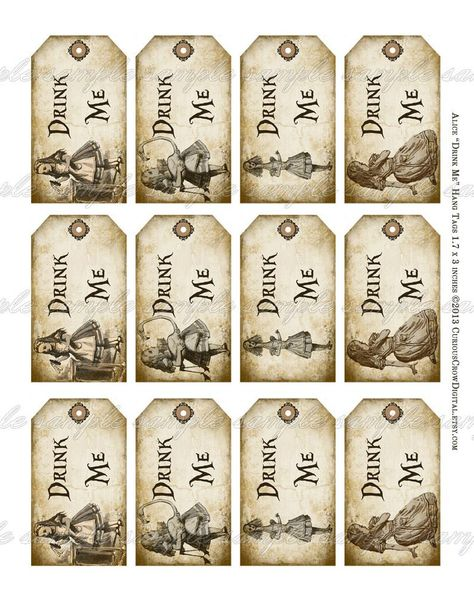 UNSTRUNG Party Decorations Alice In Wonderland DRINK ME Tags Glossy Finish