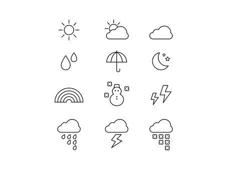 シンプルかわいい お天気 アイコンセットイラスト No 1441101 無料イラストなら イラストac アイコンセット レタリングデザイン ロゴデザインシンプル