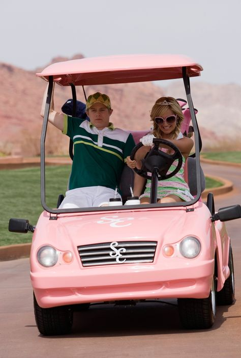 Pink golf cart from High School Musical 2 Aesthetic Collage, Aesthetic Photo, Aesthetic Pictures, Aesthetic Grunge, Bedroom Wall Collage, Photo Wall Collage, Bad Girl Aesthetic, Aesthetic Vintage, Hight School Musical