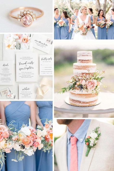 Bright shades of pink bring a sweet southern feel to this peach and dusty blue wedding inspiration! A naked floral cake, rose gold ring, and gorgeous wedding bouquets set the tone for this trendy, yet elegant inspiration.
