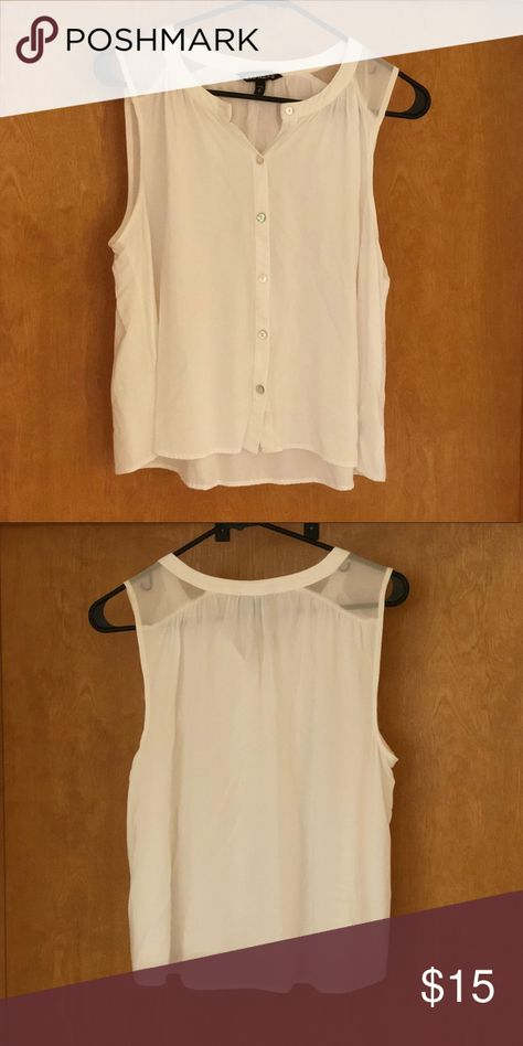 Express White Top White sleeveless button down tank with sheer shoulders. Gently used. Express Tops Tank Tops