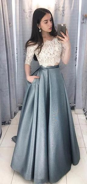 1eac9cb7469 Two Pieces Half Sleeve Lace Grey Long Evening Prom Dresses