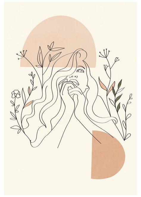 Aesthetic female line art poster woman line drawing flower | Etsy #cool #designs #art #draw #cooldesignsartdraw
