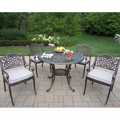 Oakland Living 5 Piece Metal Patio Dining Set 1 531 Liked On Polyvore Featuring Home Outdoors Furniture Outdoor Sets Bronze