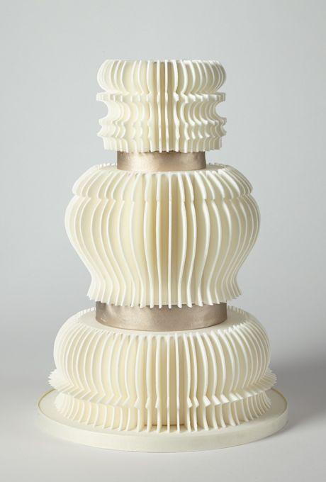 Brides: America's Prettiest Wedding Cakes | An Elegant Ivory Accordion Fold Cake | Cake by Charm City Cakes