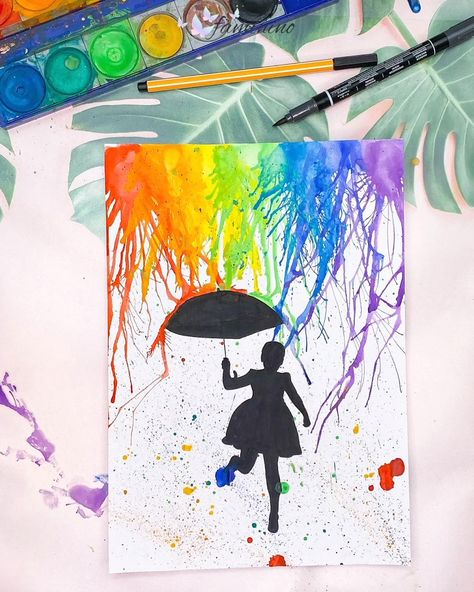 Mit der Puste-Technik kann man einfach wunderschöne Kunstwerke gestalten! Lade dir einfach das Mädchen mit Schirm (auch verfügbar als Junge mit Schirm) herunter und los geht der bunte Farb-Spaß. #tusche #wasserfarbe #bastelnmitkindern