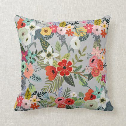 Spring Flower Bouquet Throw Pillow Zazzle Com In 2020 Spring