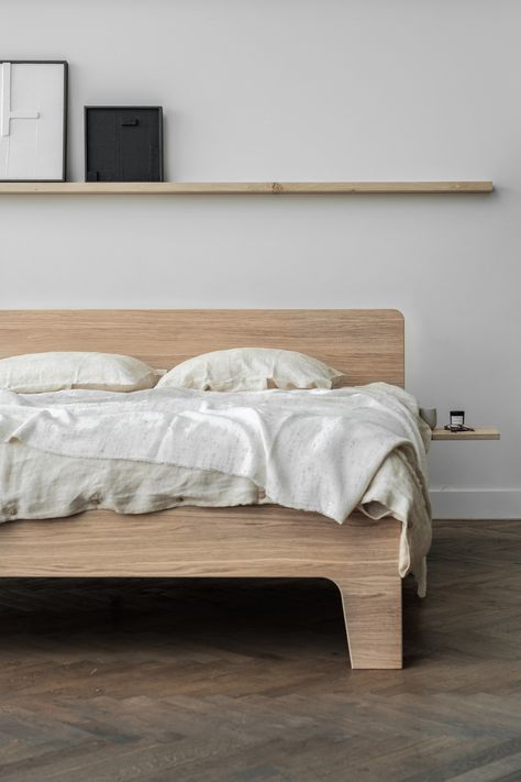 Bedroom inspiration. Take a look at the collection of the dutch interior brand named Loof. They are known for their minimalistic wooden bedframes. Photography by Thibault and styling by April and May. #loof #dutchdesign #frame #basket #pure #piled #sightmirror #aprilandmay