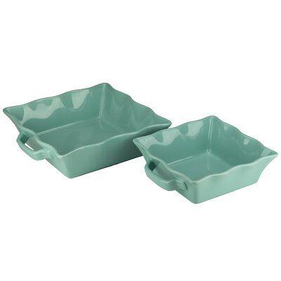 August Grove Hackman 2 Piece Square Ruffle Ceramic Bakeware Set