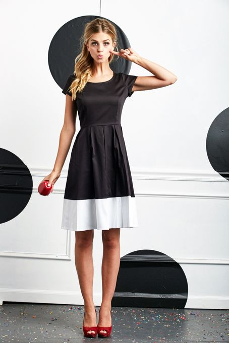 Inky Fit and Flare Dress B&W by Shabby Apple