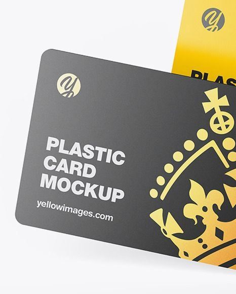 Two Plastic Cards In Stationery Mockups On Yellow Images Object Mockups 1000 Stationery Mockup Plastic Card Cards