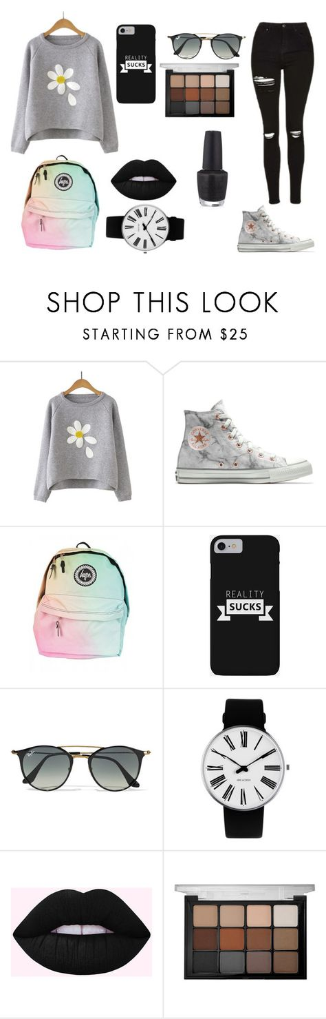 """""""Felling """"good"""""""" by ghetaudorina on Polyvore featuring Converse, Ray-Ban, Rosendahl, Viseart and OPI"""