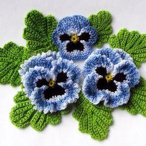 Irish Crochet Flower PATTERN PDF, Pansy Photo Tutorial, Spring Flower Bouquet, Applique or Brooch