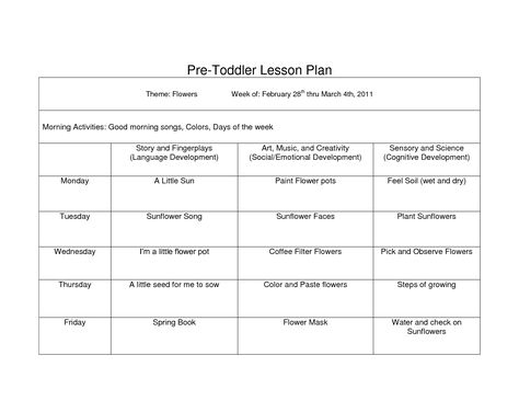 Creative Curriculum Blank Lesson Plan WCC Pre Toddler curriculum - toddler lesson plan template
