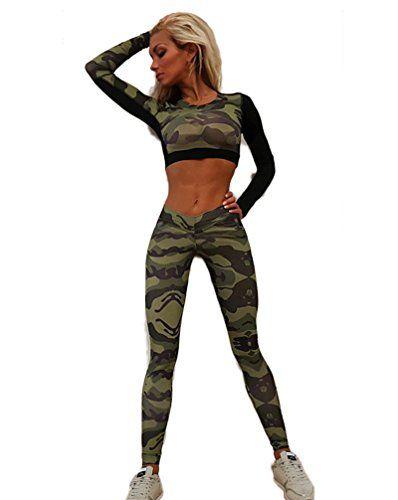 89ca5072a923 Chandal Mujer Crop Top+Leggins Deportes Dos Piezas Militar Manga ...