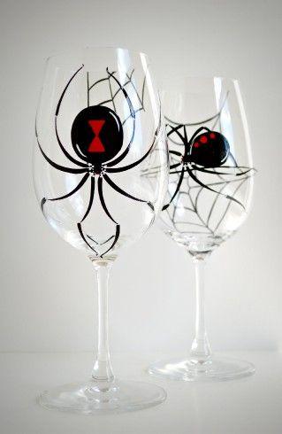 Black Widow Spider Wine Glasses - Set of 2 Halloween Glasses by MaryElizabethArts.com