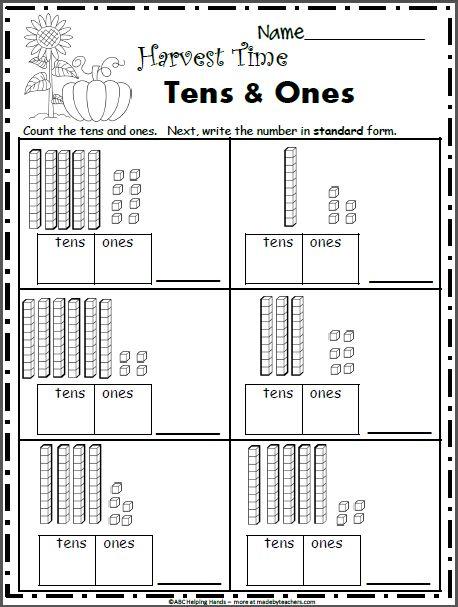 Free Fall Math Worksheets for Grade - Base 10 Blocks - Madebyteachers - Mathe Ideen 2020 Math Addition Worksheets, First Grade Math Worksheets, 1st Grade Activities, Free Math Worksheets, Second Grade Math, Kindergarten Worksheets, Grade 1 Maths, Class 1 Maths, 1st Grade Crafts