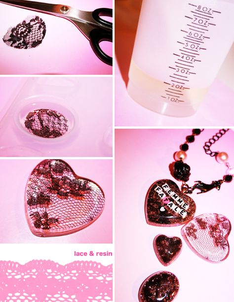 lace for your jewelry: resin pendant tutorial (pinned from Louise Smith. She has a lot of resin tutorials pinned under resin crafting.)