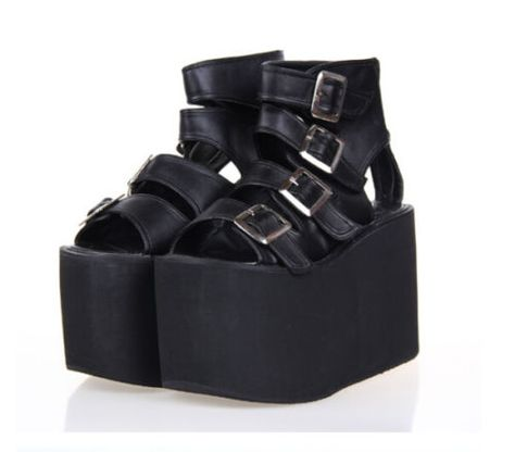 afe626409a7 Womens-Punk-Open-Toe-Buckle-Strap-Hollow-Out-Wedge-Platform -Creeper-Sandal-Shoes