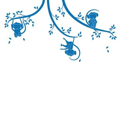 LittleLion Studio Monkey Tree Branches Monochromatic Wall Decal Color: Azure Blue