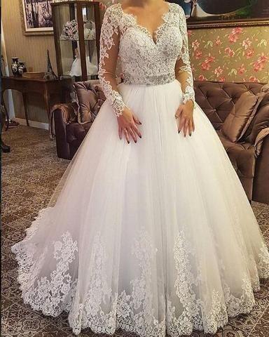 2018 A Line Wedding Dress V Neck Sheer Long Sleeves Lace Long