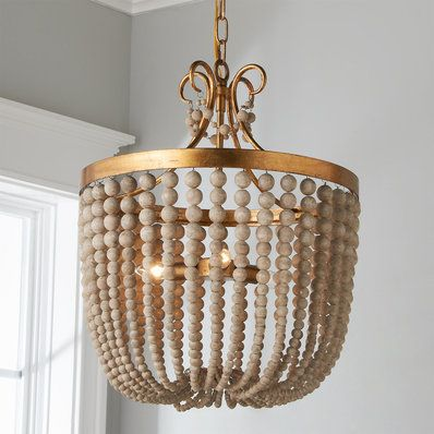 Aged Wood Beaded Chandelier 1 Light Rustic Glam Unique