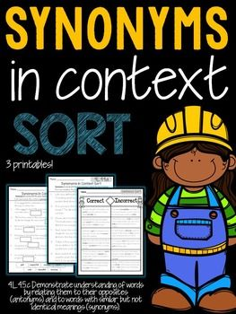 Synonyms | ANTONYMS/SYNONYMS | Teaching language arts