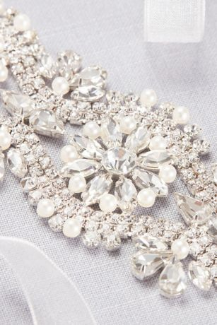 Graduated Pearl And Crystal Blossom Medallion Sash Style