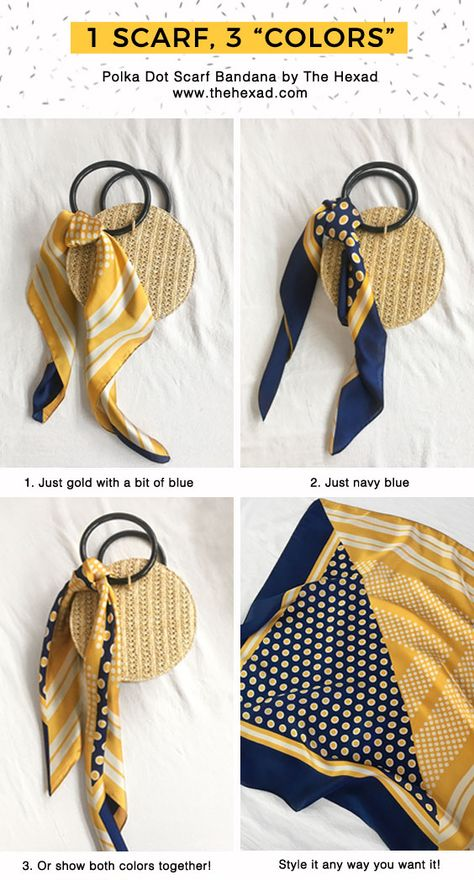 How to style and tie a scarf in 3 ways. Get creative with the Polka Dot Hair Scarf that is made up of two bold colors - mustard yellow and navy blue. Fold this scarf in different directions to get the color combination that you want to suit your day's look! Our favorite way to style this scarf bandana is on a summer straw bag or around a ponytail. More styling ideas over at www.thehexad.com