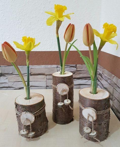 3er Set Holzvase Vase Baumstamm Deko Holz Natur Tischdeko
