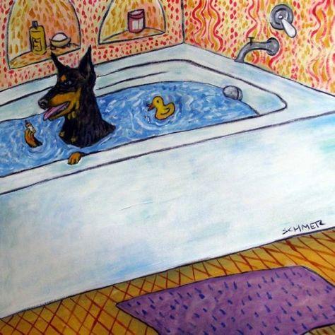 DOBERMAN PINSCHER COOKING OUT 4x6 glossy  art PRINT impressionism artist a