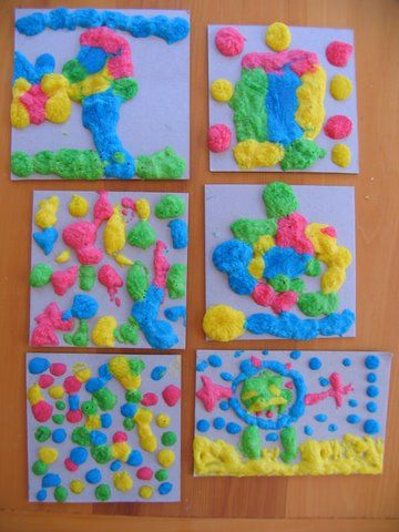 Make this puffy paint with self-rising flour, salt and food coloring. Cook in the microwave to puff up.