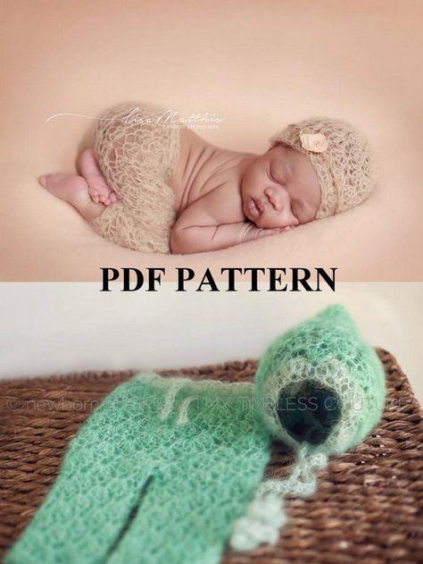 697d136ec81 Crochet Pattern - Newborn Mohair Lovely Lace Pants   Beanie   Pixie Set -  PDF Pattern