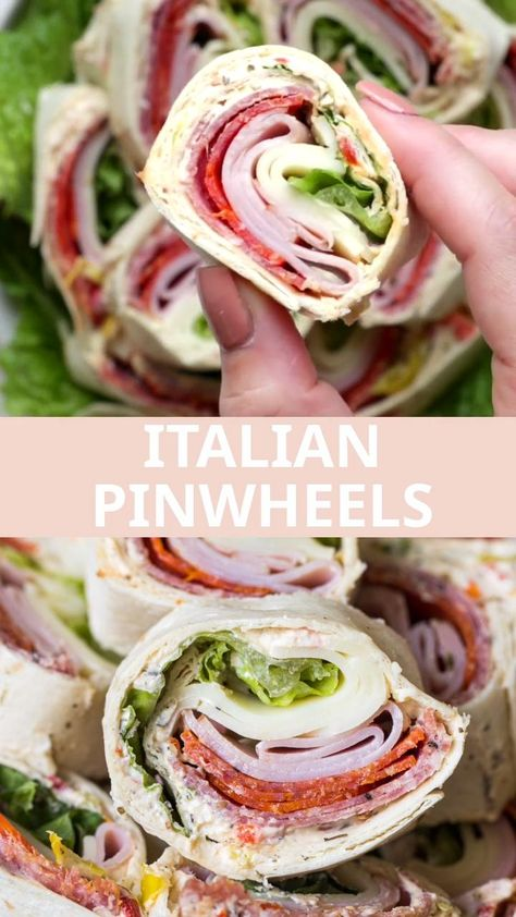 These quick and flavorful Italian pinwheels are the perfect appetizer for any party or quick meal. Layered with a savory cream cheese spread, fresh green leafy lettuce, Italian favorites, and of course the meats – salami, pepperoni, and ham to be exact, making these the BEST pinwheels, rollups, wraps, or whatever you want to call them… ever! #pinwheels #italianpinwheels #tortillasandwiches #italian #appetizers