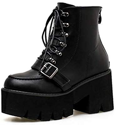 the latest factory outlets look out for Amazon.com: SHANGWU Women Ladies Block Chunky Mid Heel Biker ...