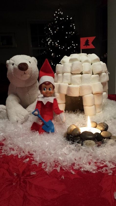 Marco the Elf knew that we were in for a doozy of a storm. He was ready for it, as he built his marshmallow igloo! He even has a campfire going.