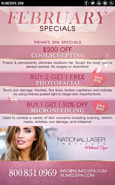 Feel Your Best This Valentine S Day National Laser Institute Medical Spa Spa Specials Medical Spa Med Spa Marketing