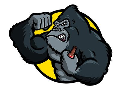 Gorilla Bodybuilder Cartoon Character Vector Art In 2020