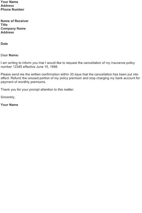 Cancellation Insurance Policy Letter Preview More Part This Was