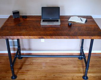 reclaimed wood office furniture. pipe desk extra thick reclaimed wood industrial office furniture npady do domu pinterest d