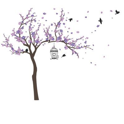 Harriet Bee Blossom Tree And Birds Wall Decal In 2020 Bird Wall Decals Blossom Trees Flower Wall Decals