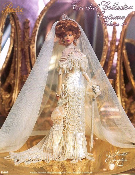 pdf crochet dress barbie mariage barbie bride, crochet ebook, motif