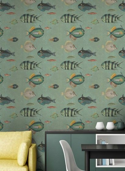 Fischtapete Poissons Von Mind The Gap 3443 Farben Und Tapeten Kinder Tapete Tapeten Wohnzimmer