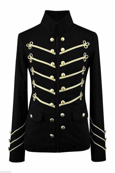 Men Handmade Gold Embroidery Black Military Napoleon Hook Jacket 100% Cotton #fashion #clothing #shoes #accessories #mensclothing #coatsjackets (ebay link)